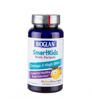 Bioglan SmartKids Brain formula za aktivne možgane - okus citrusov, 30 žvečljivih kapsul