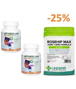 2x 60 tablet Arthrocann Collagen Omega 3-6 Forte + 1x 90 kapsul Lindens Rosehip Max Joint Care Formula – Šipek za maksimalno nego sklepov