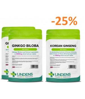 """Paket """"spomin, kognitivne sposobnosti in koncentracija"""" 2x 100 tablet Lindens Ginkgo Biloba + 1x 100 tablet Lindens Korejski ginseng 1300 mg"""