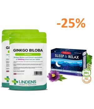 """Paket """"spomin, kognitivne sposobnosti in koncentracija"""" 2x 100 tablet Lindens Ginkgo Biloba + 1x 60 kapsul Terezia Sleep & Relax - miren spanec in sprostitev"""