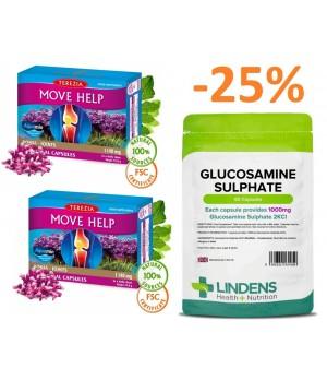 Paket 2x 60 kapsul Terezia Move Help - lažje gibanje + 1x 60 kapsul Lindens Glukozamin sulfat 1000 mg