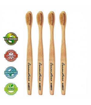 Komplet Curanatura za naravno nego zob 4x Bamboo Extra Soft zobna ščetka iz bambusa