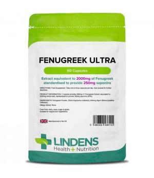Lindens Fenugreek Ultra – Sabljasti Triplat ali Grško seno 2000 mg, 60 kapsul