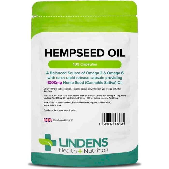 Lindens Hempseed Oil – Olje konopljinih semen 1000 mg, 100 kapsul - uravnotežen vir Omega 3 & 6