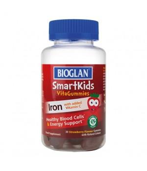 Bioglan SmartKids Železo z vitaminom C - okus jagode, 30 žvečljivih tablet