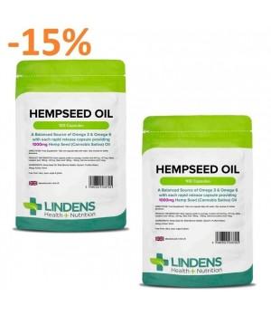 """2x 100 kapsul Lindens Hempseed Oil - Olje konopljinih semen 1000mg - """"URAVNOTEŽEN VIR OMEGA 3 & 6"""""""